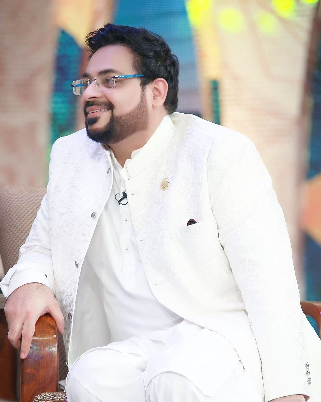 Aamir Liaquat with his Wife Syeda Tuba Amir in Ptv Ramzan Transmission
