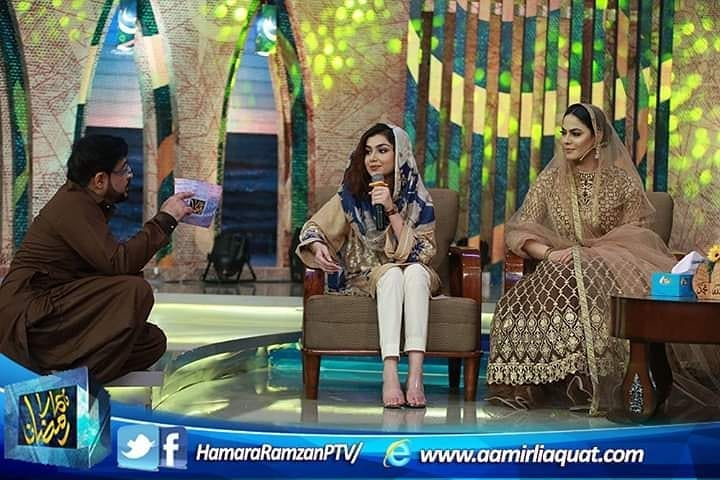 Beautiful Clicks of Syeda Tuba Amir and Veena Malik in Ptv Ramzan Transmission