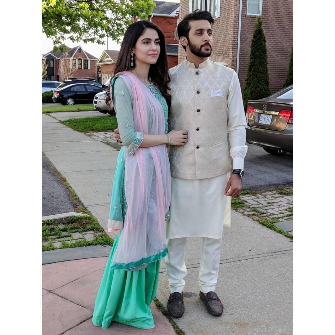 Beautiful Clicks of Arij Fatima with her Husband in Canada