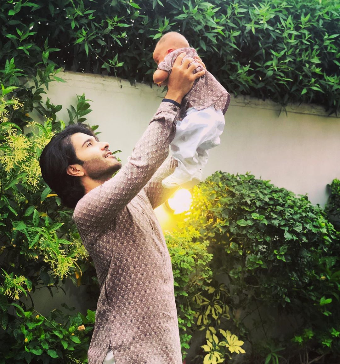 Eid Pictures of Feroze Khan with his Wife Alizey and New Born Son