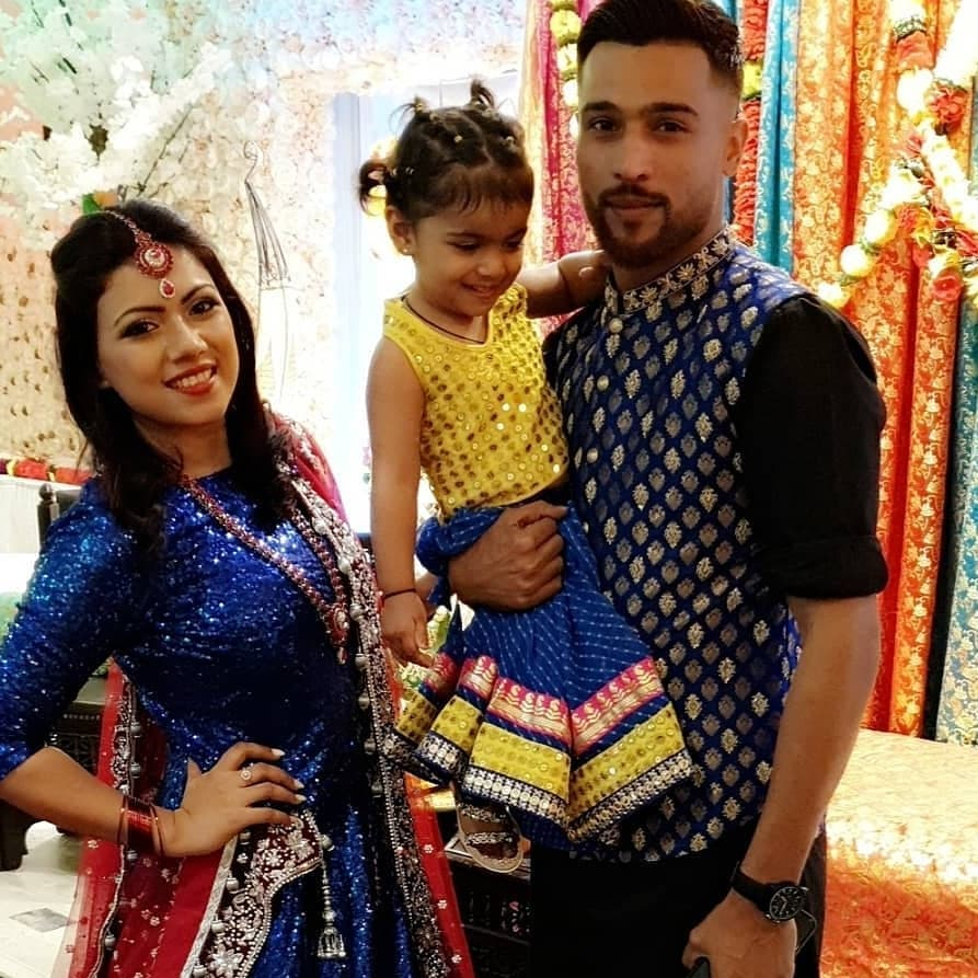 Muhammad Amir with his wife Narjis and Cute Daughter at Mehndi Event of his Brother in Law