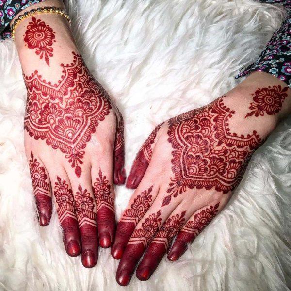 Red Mehndi Designs 10