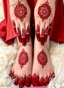 Red Mehndi Designs 2