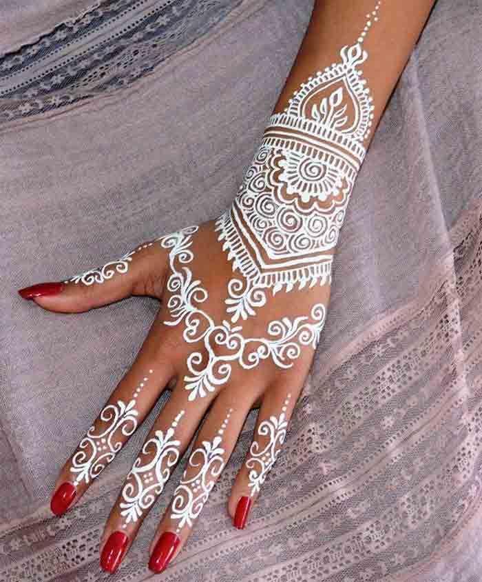 White Mehndi Designs 11