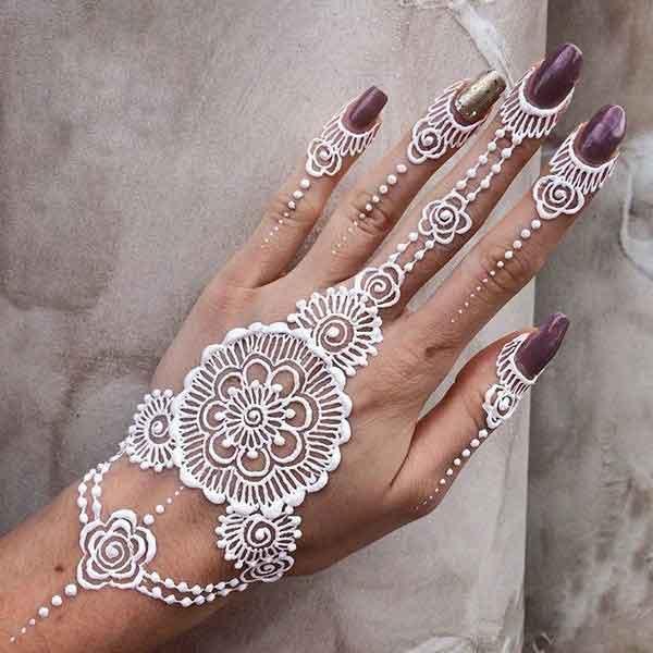 White Mehndi Designs 12
