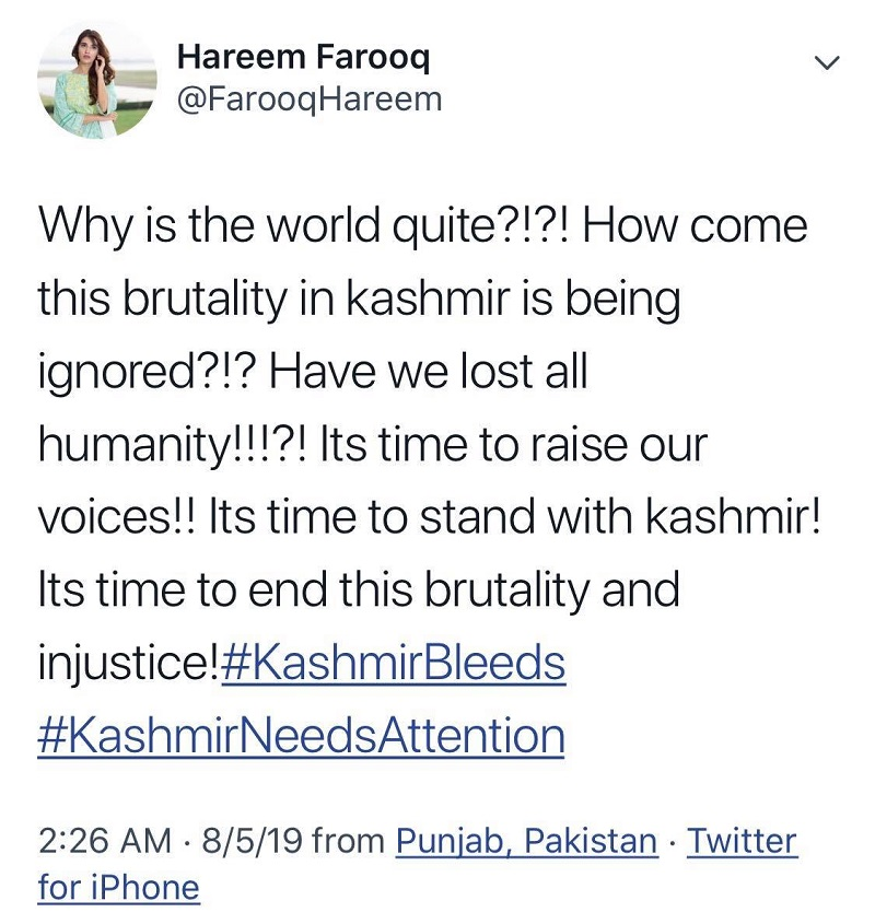 Pakistani Celebrities on Kashmir Issue