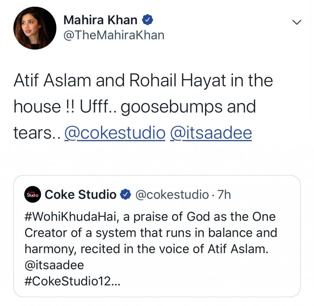 Celebrities laud Atif Aslam's rendition of Wohi Khuda Hai for Coke Studio