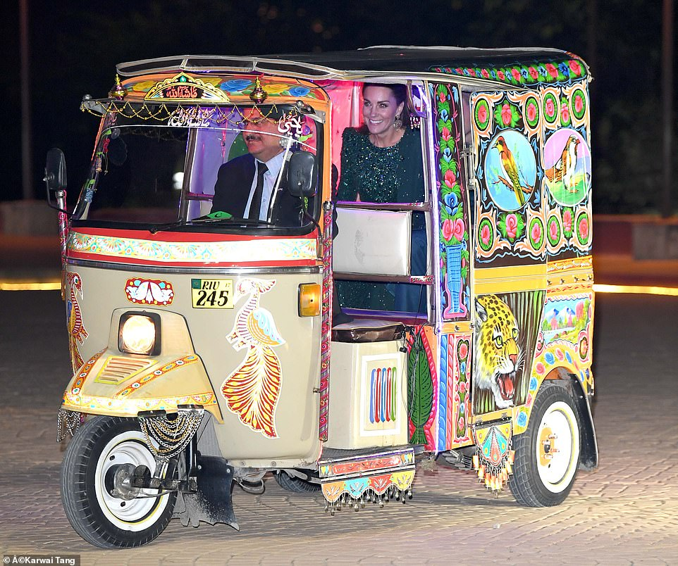 Duke And Duchess Of Cambridge Arrived At Evening Reception By Rickshaw