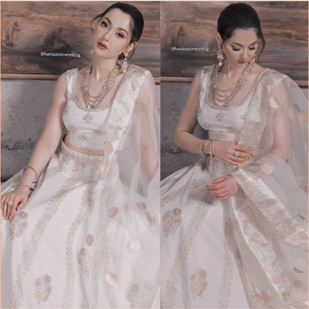 Hania Aamir Looks Breathtakingly Beautiful In White Lehnga Choli