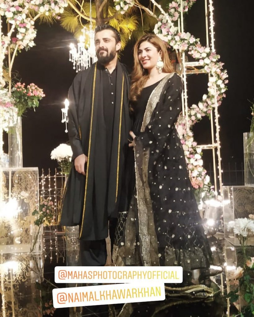 Hamza Ali Abbasi, Naimal Khawar look absolutely gorgeous attending wedding together