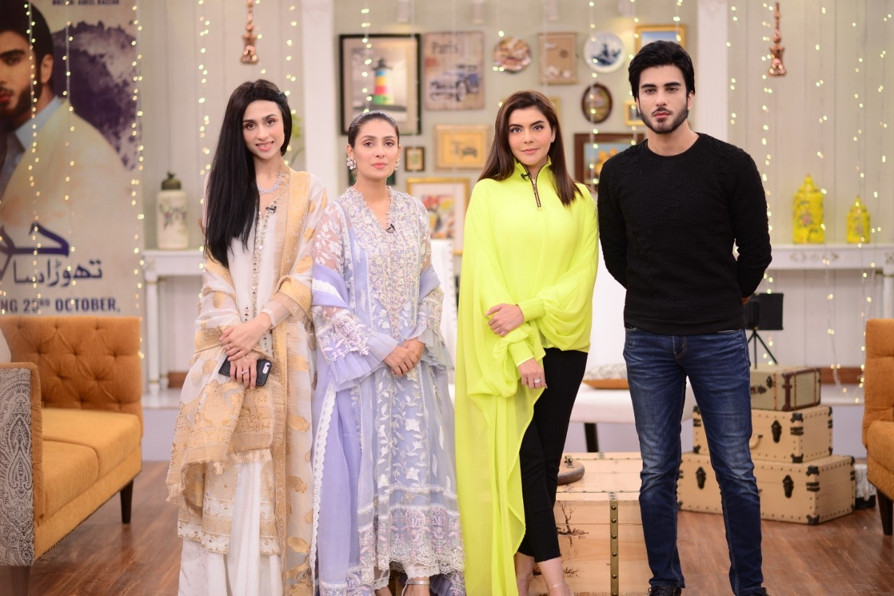 Cast of upcoming drama Thora Sa Haq on the set of Good Morning Pakistan