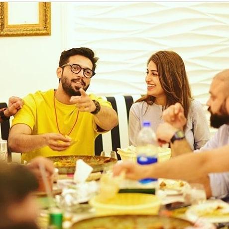 Actor Fahad Mustafa Having Dinner at Iqrar ul Hassan Restaurant in Karachi
