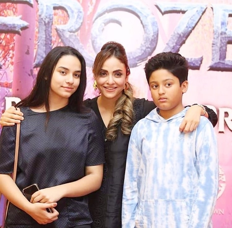 Beautiful Nadia Khan with her Daughter and Son at a Recent Event
