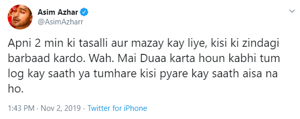 Asim Azhar has a message for everyone taunting Rabi Pirzada