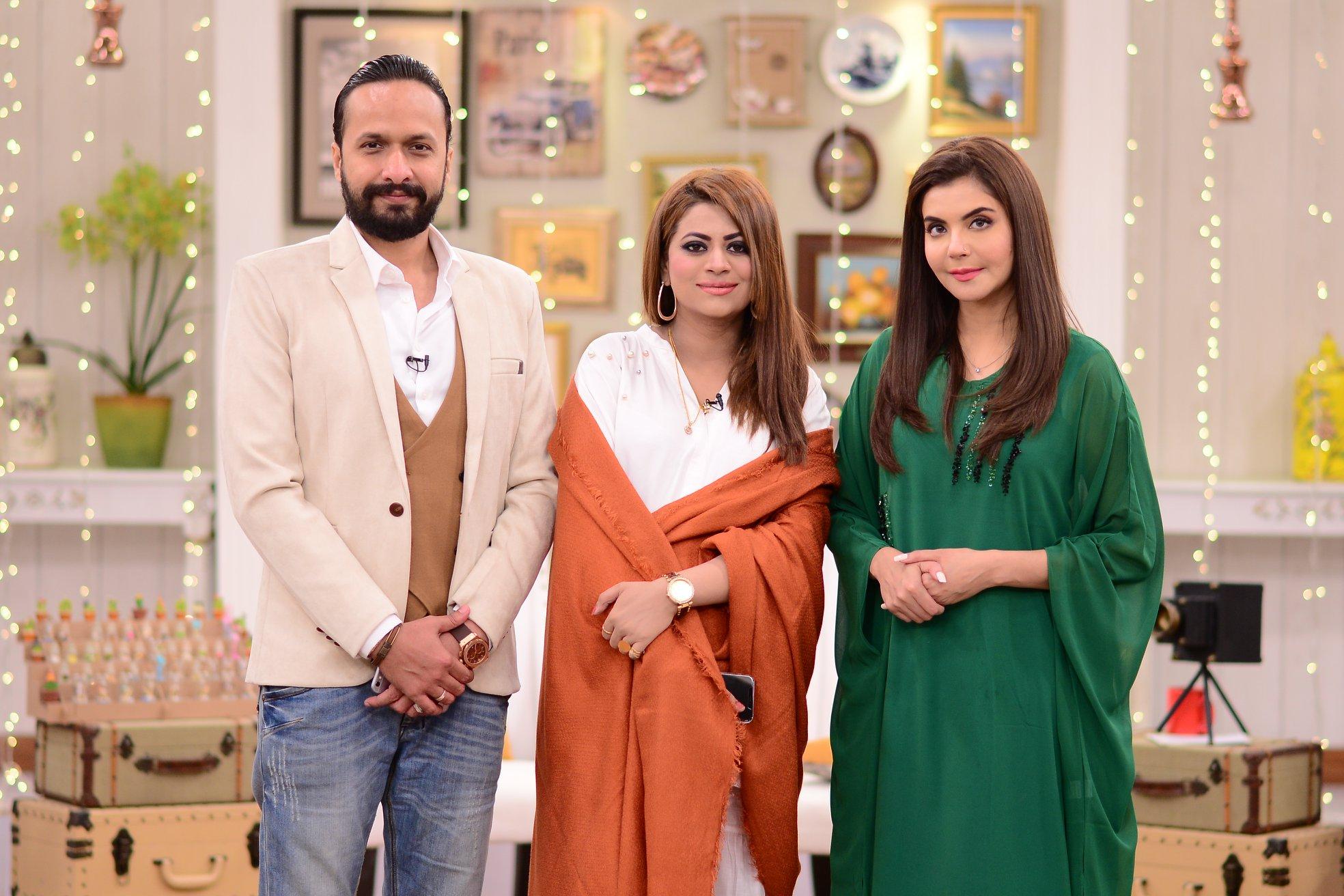 Actress Benita David with her Husband in Nida Yasir Morning Show