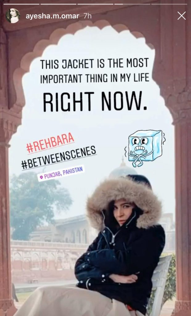 Ayesha Omer Shares Some BTS From Her Upcoming Venture 'Rehbra.'