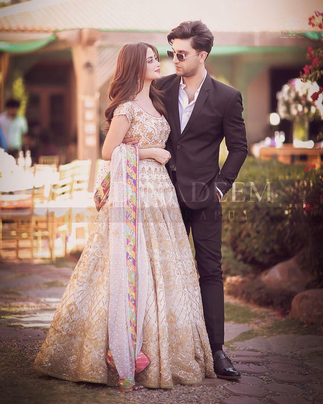 Beautiful Couple Ahad Raza Mir and Sajal Aly Clicks from Yasir Iqra Wedding