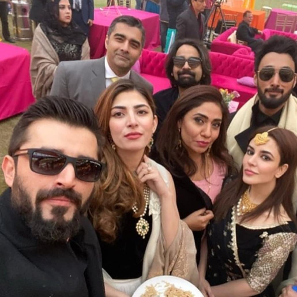 Latest Clicks of Hamza Ali Abbasi with Naimal Khawar from recent Wedding Event
