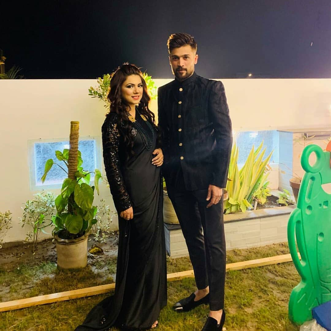 Cricketer Muhammad Aamir with his Wife Narjis at a Wedding Event Last Night