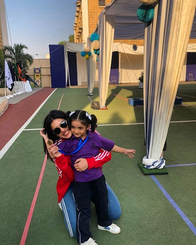 Sanam Jung with her Daughter at her School Sports Day