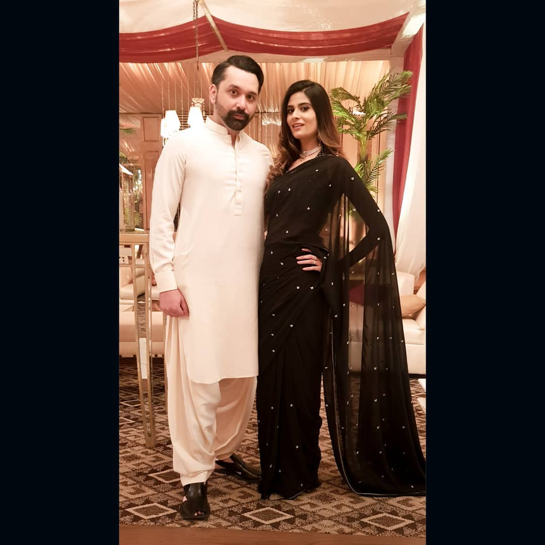 Actress Madiha Iftikhar with her Husband at a Recent Wedding Event