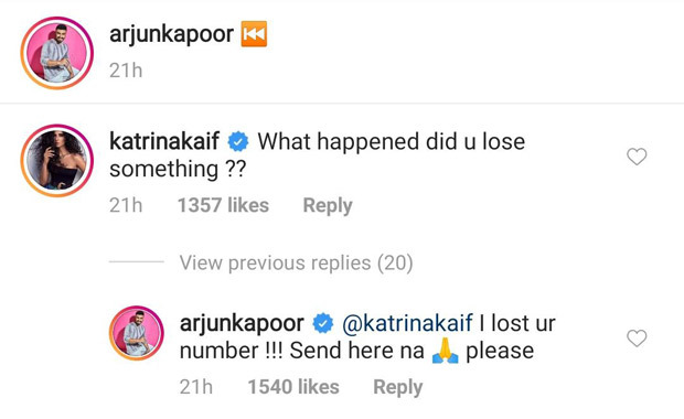 Arjun Kapoor's hilarious reply to Katrina Kaif's comment on his photo has us cackling