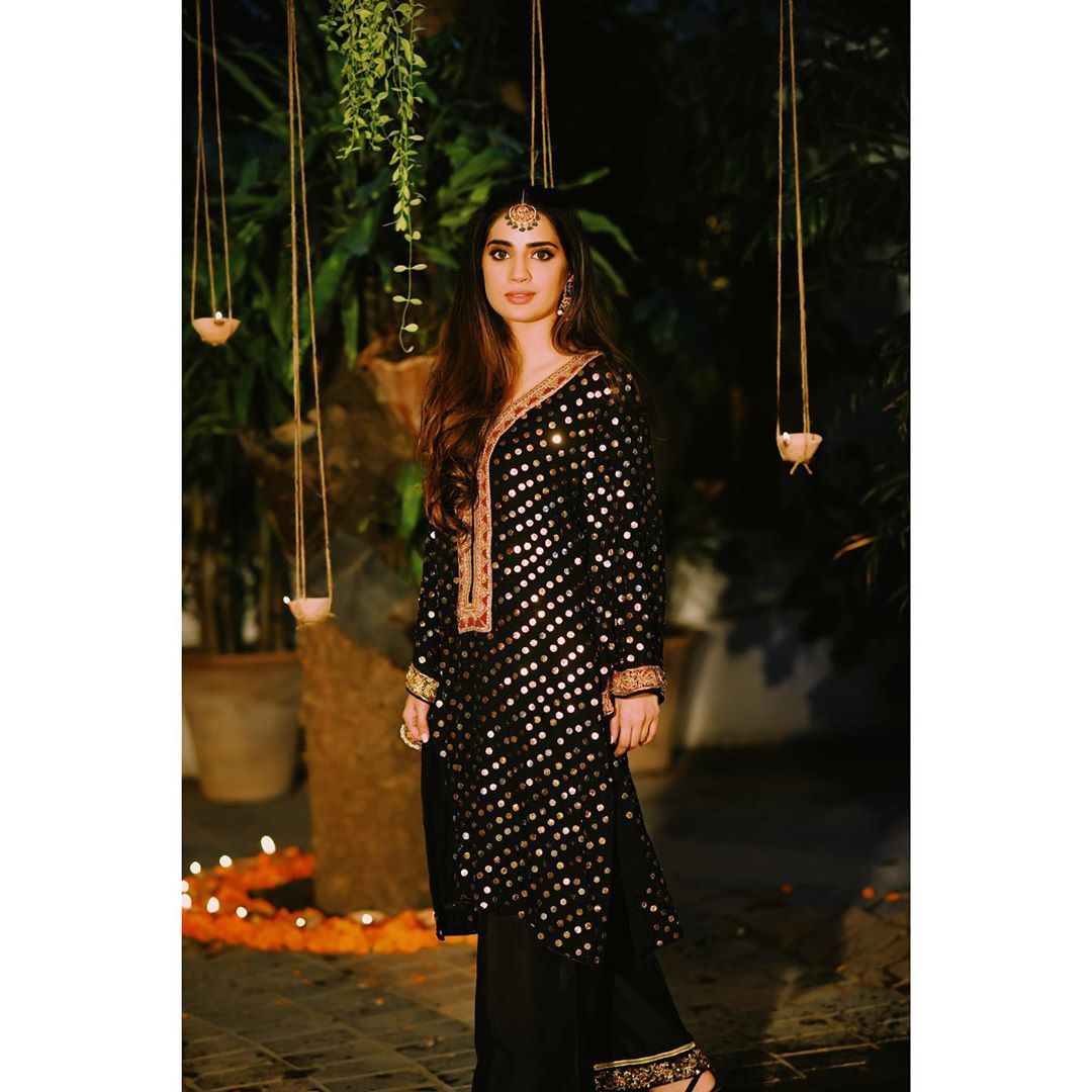 Saboor Ali Looking Gorgeous in Black in her Latest Photo Shoot for Amna Arshad