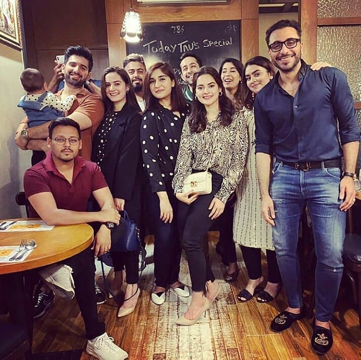 Actors Aiman, Minal and Muneeb Spotted at Dinner with Friends