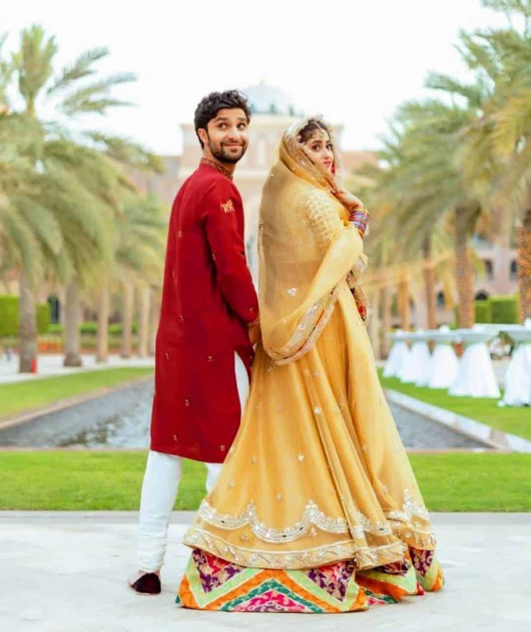 Sajal Aly & Ahad Raza Mir Mehndi Look & Outfit Details