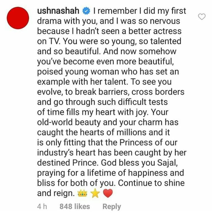 Ushna Shah Wishes Sajal Aly In Heartwarming Post