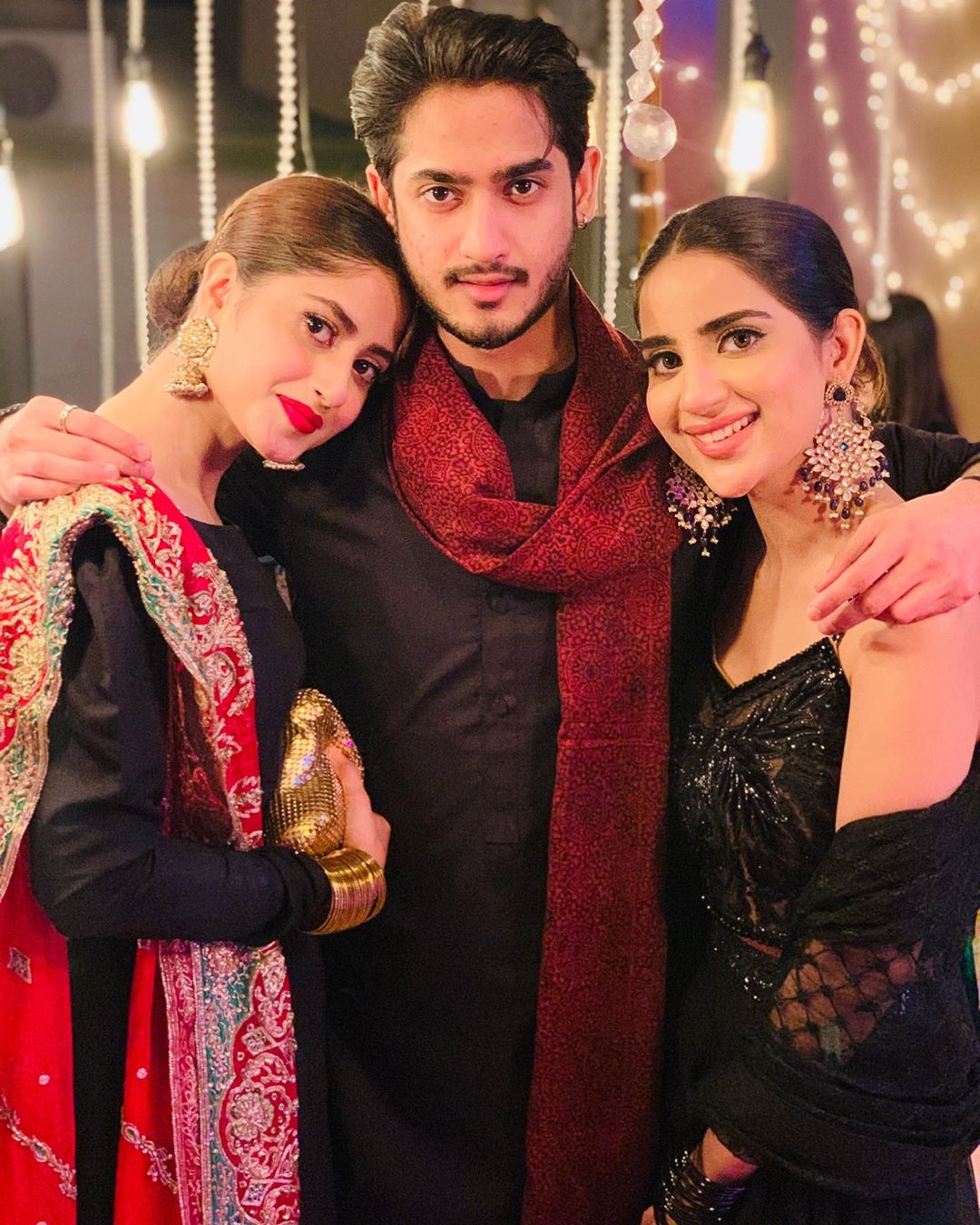Sajal Aly and Saboor Aly with their Brother at Dholki of Sadia Ghaffar