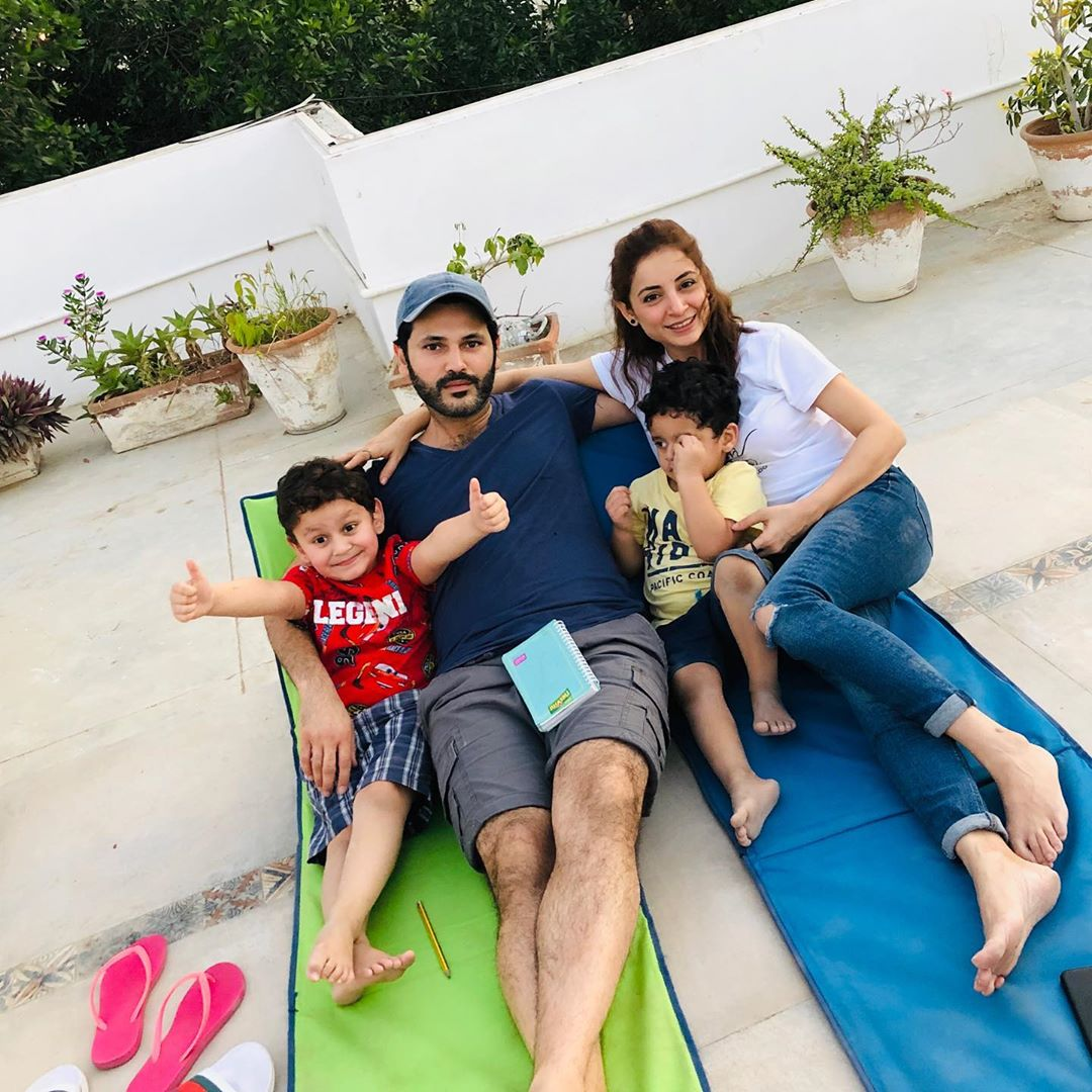 Fahad Mirza and Sarwat Gillani Latest Clicks with their Kids from Lock down