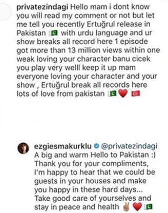 Ertugrul Actress Ezgi Esma Kürklü Thanked Pakistani Fans