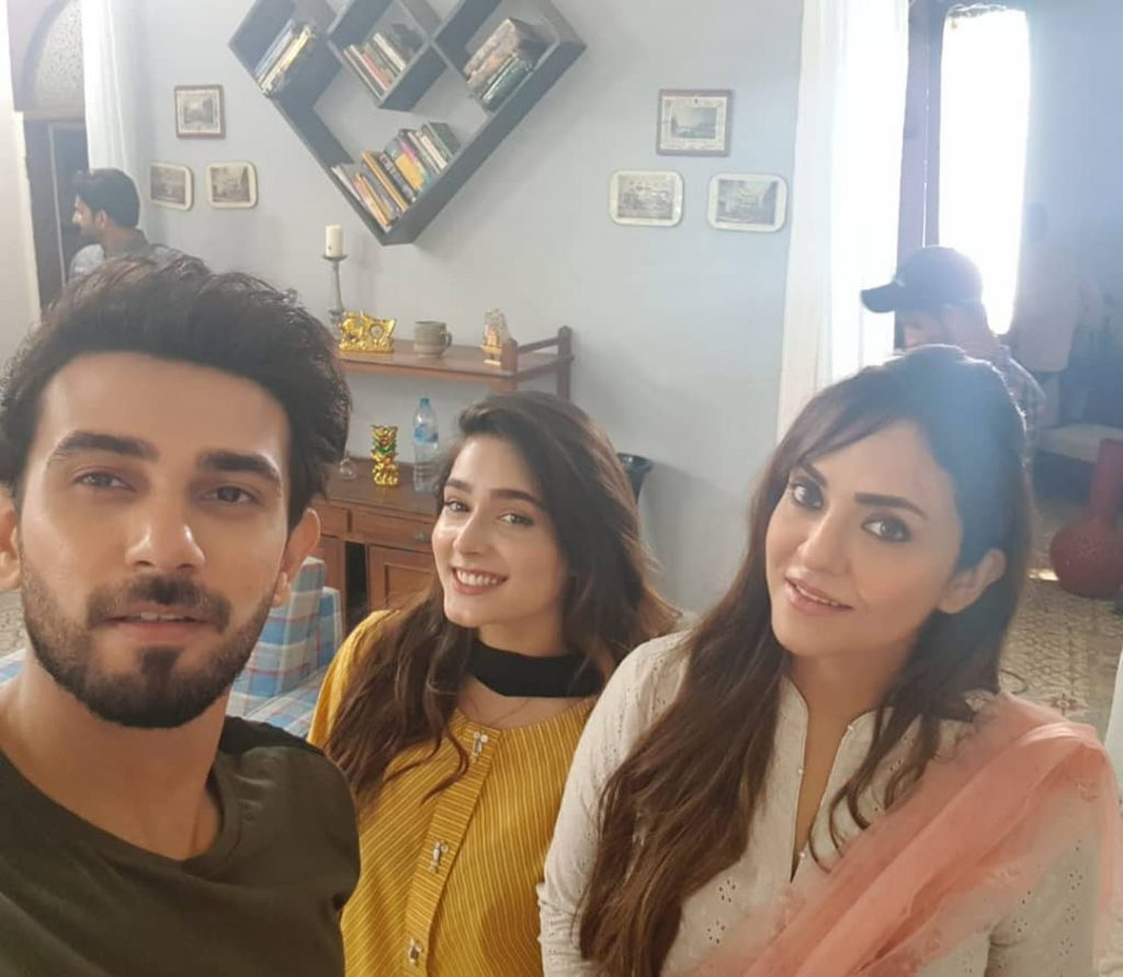 Cute Pictures of Nadia Khan with Friends at Work