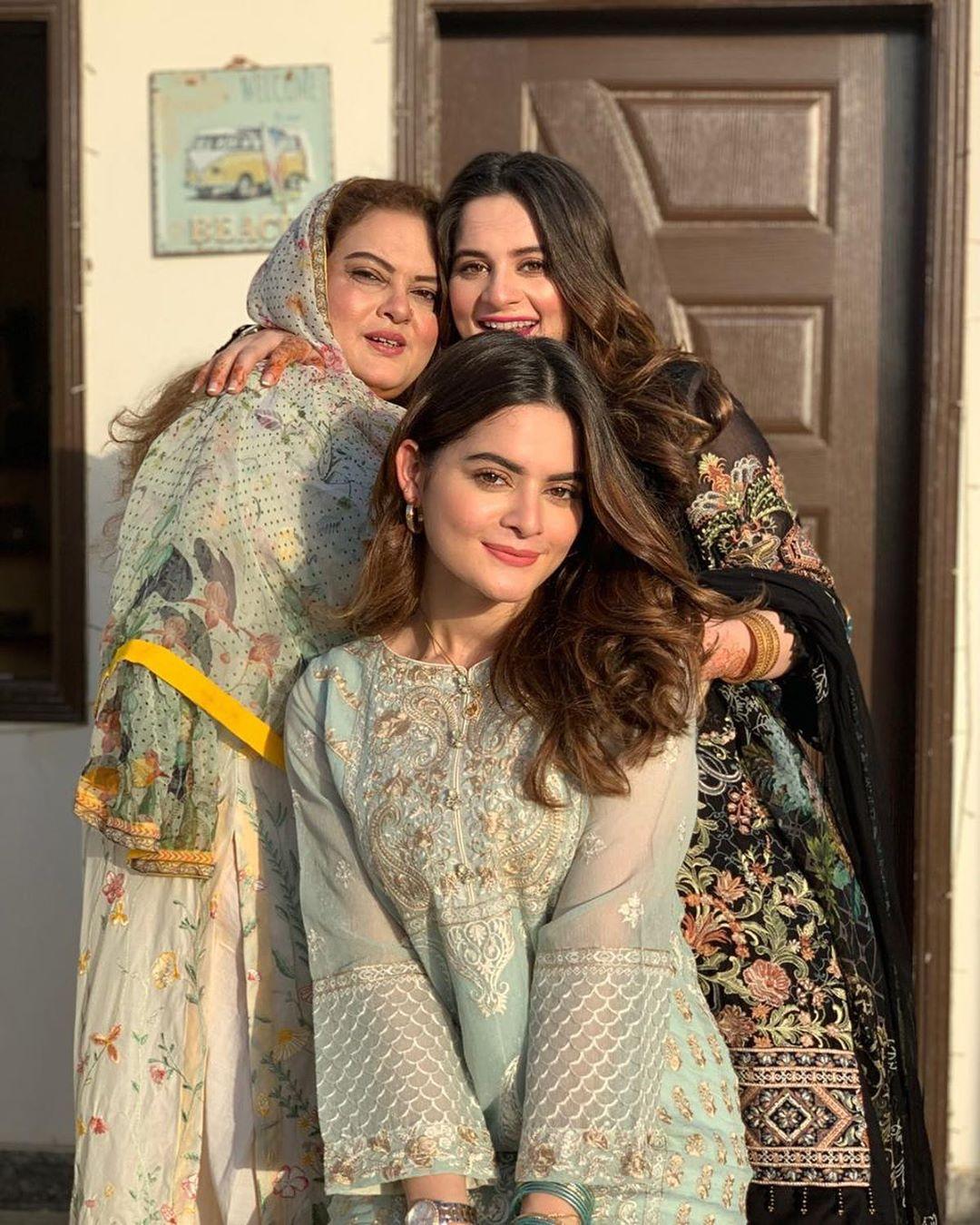 Aiman Khan and Minal Khan Celebrating their Mother's Birthday