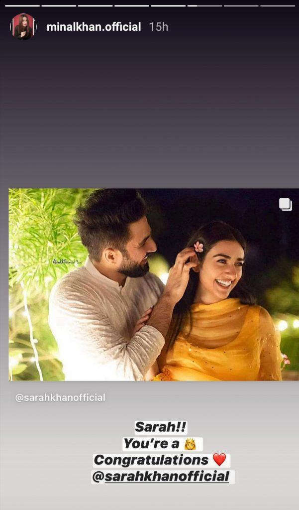 Celebrities Congratulating Sarah Khan On Her Wedding