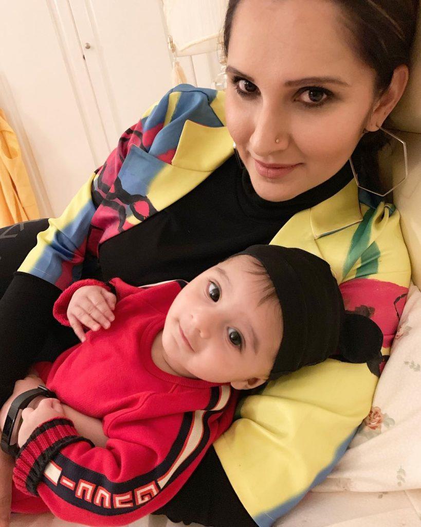 Sania Mirza Teaching Workout Moves To Her Son