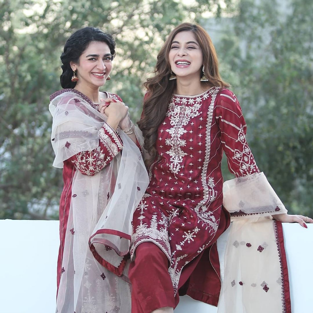 Hajra Yamin and Azekah Daniel Pictures from the Sets Tera Ghum or Hum