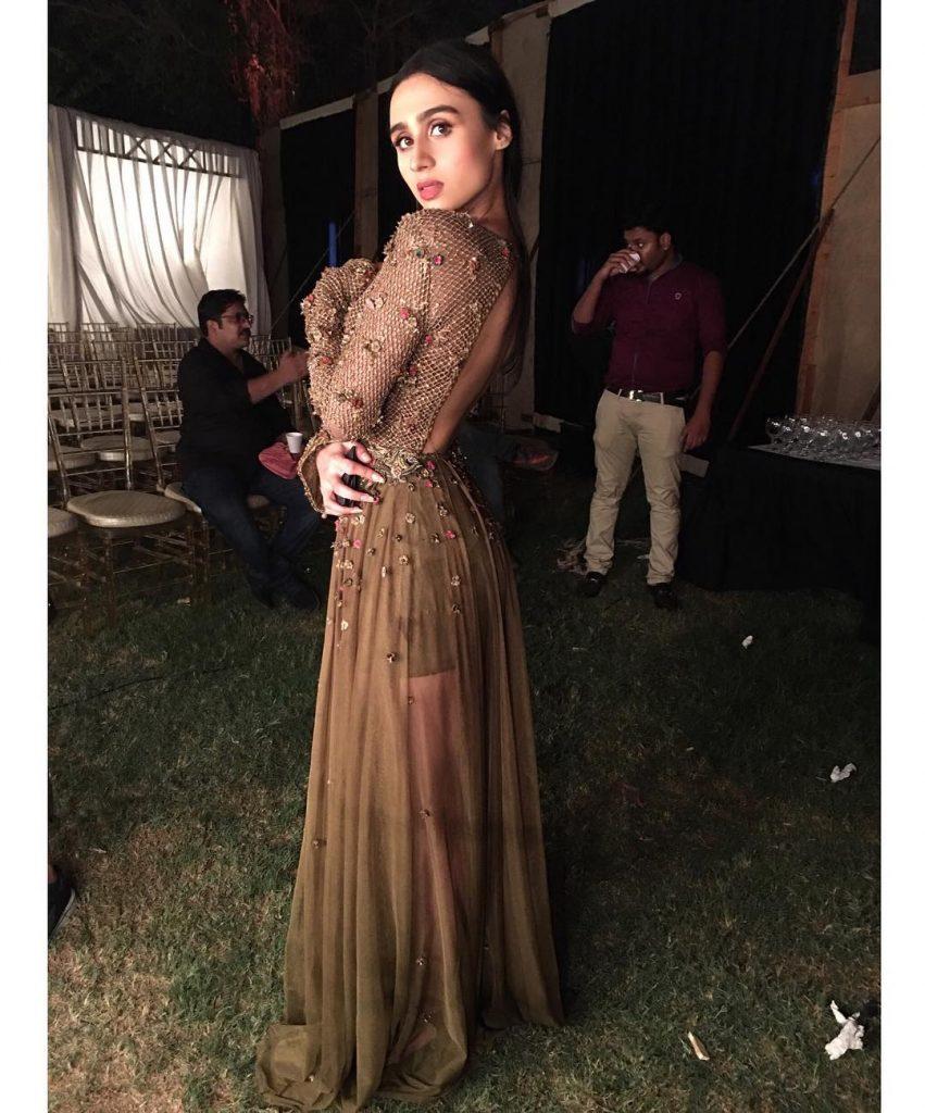 Sparkling Pictures of Mashal Khan in Golden Dresses