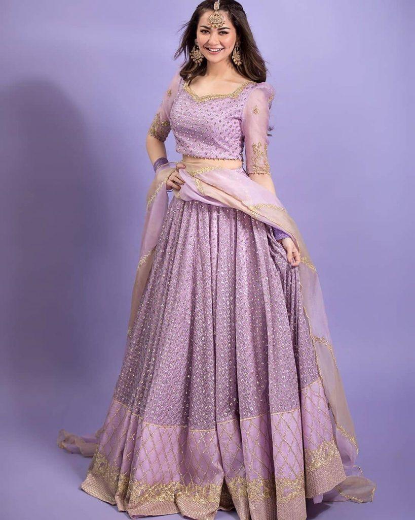 Hania Amir Looking Stunning In Lilac Colored Lehnga Choli