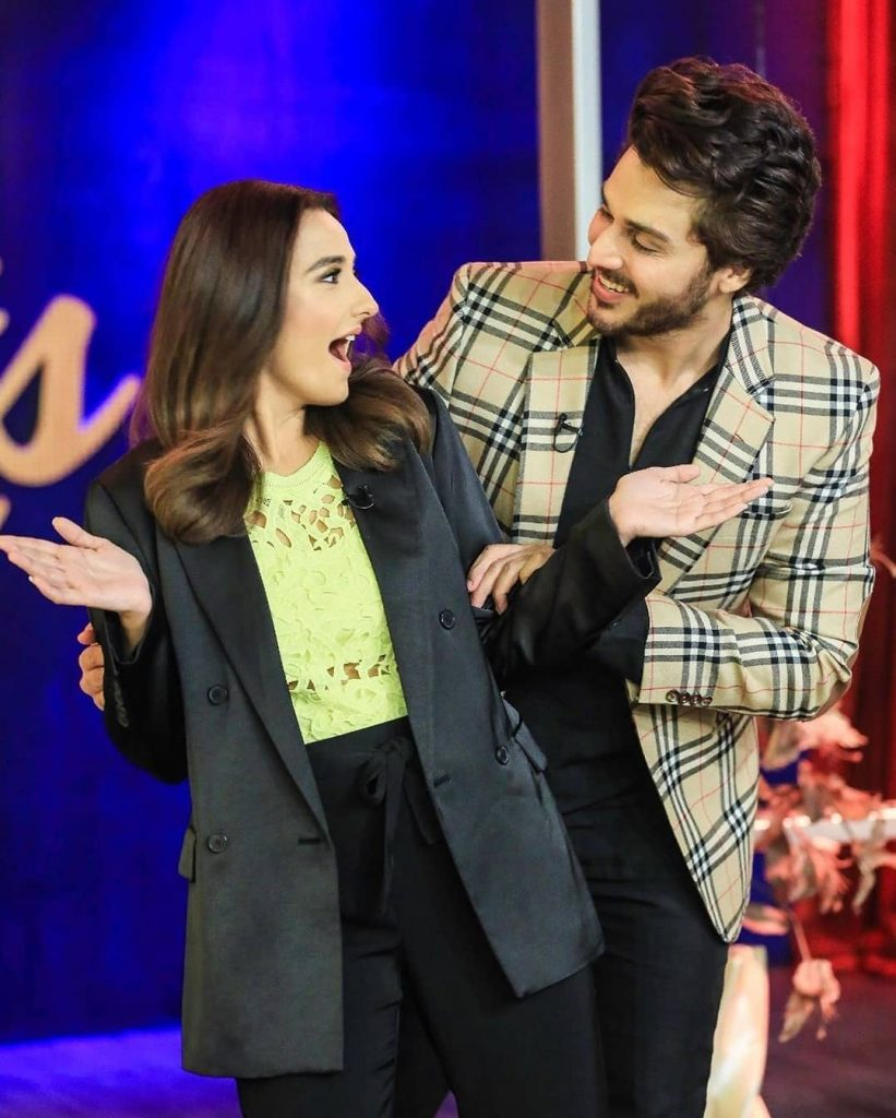 Momal Sheikh Clicks From The Set Of Bol Nights With Ahsan Khan