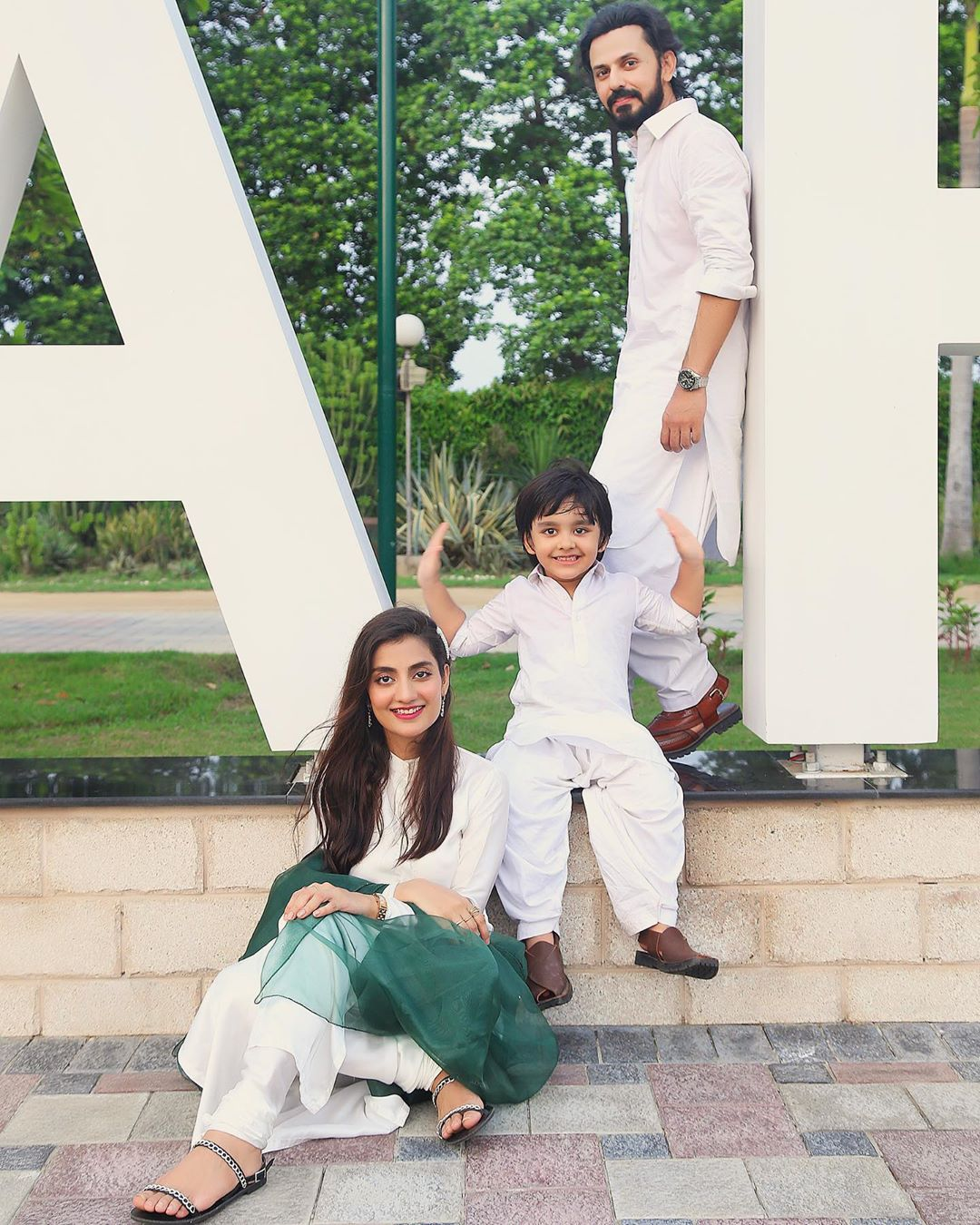 Bilal and Uroosa Qureshi Independence Day Pictures with Their Cute Son