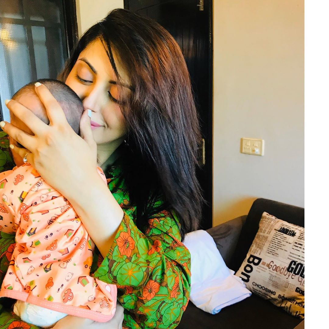 Actress Moomal Khalid with her Husband and New Born Baby
