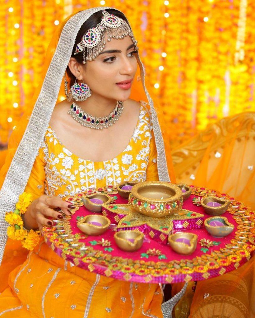 Saboor Aly In Gorgeous Mayun Dress By Sanober Azfar