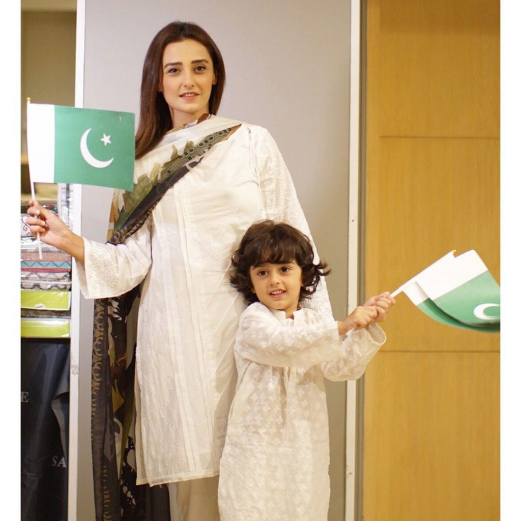Exquisite Pictures of Momal Sheikh with Husband and Son