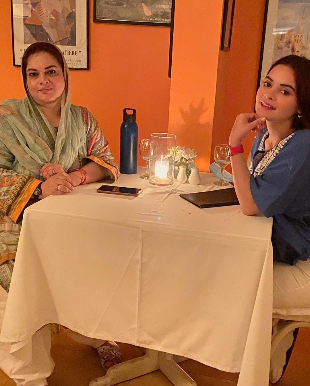 Beautiful Clicks of Minal Khan Having Dinner with her Mother