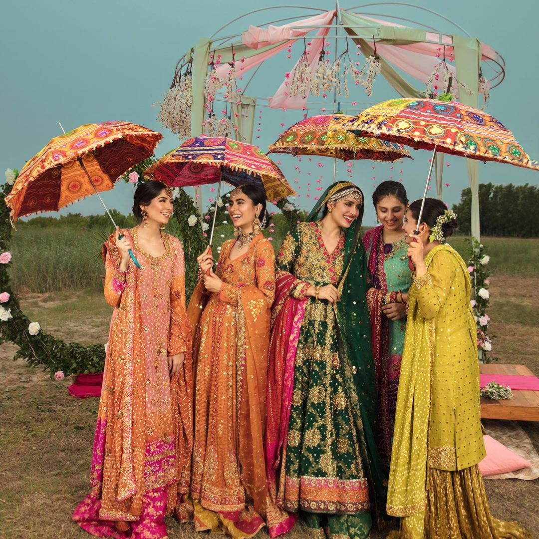 Ayeza Khan Looking Gorgeous in Beautiful Mehndi Dresses by Ansab Jhangir