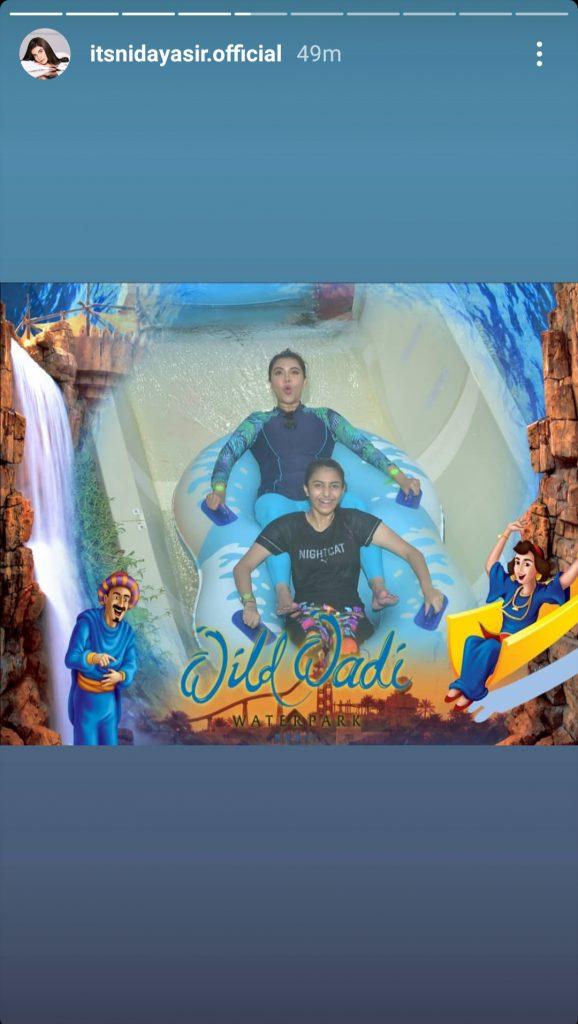 Nida Yasir Enjoying Swimming With Family In Dubai