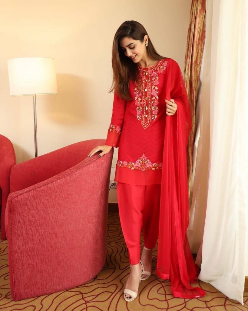 30 Pictures Of The Beautiful Maya Ali in Red Dresses