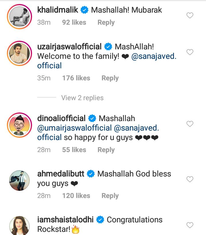 Celebrities Congratulated Newly Married Sana Javed And Umair Jaswal